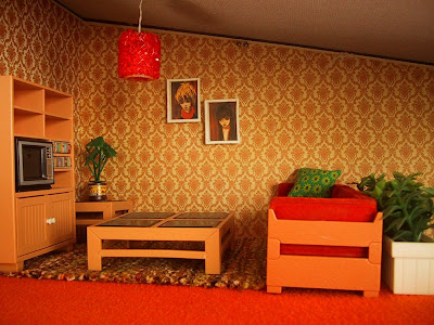 Vintage Lundby dolls' house lounge.