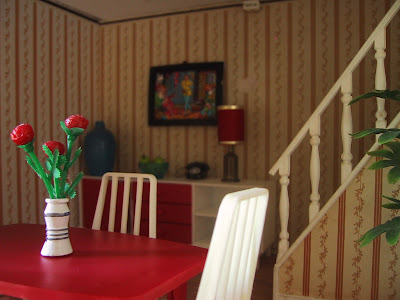 Vintage Lundby dolls' house dining room.