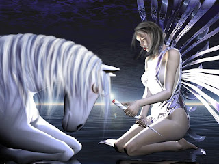 Fantasy Angel and White Horse