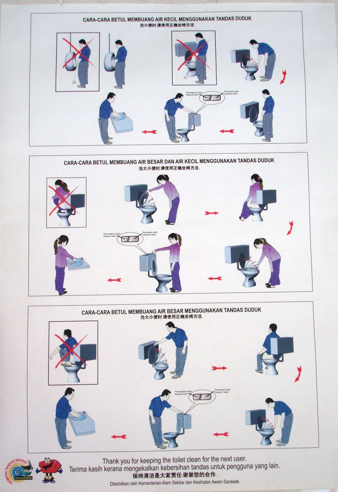 Toilet Instructions Manual Men Women Weird Stuff