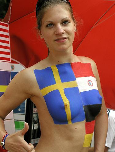 Swedish soccer fans topless