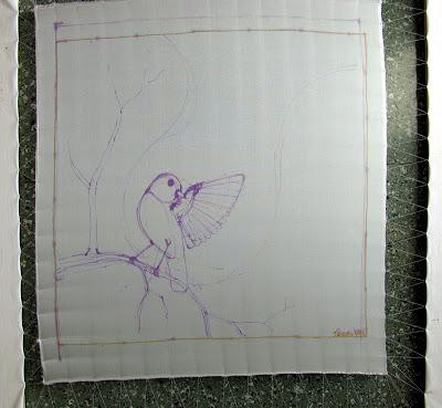 silk painting, preparatory drawing / šilko tapyba, paruošiamasis piešinys