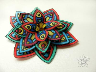 Colorful silk flower, mixed colors flower from hand painted silk / spalvota šilko gėlė
