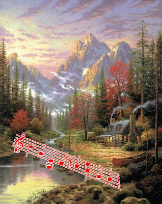 Thomas Kinkade: THe Good Life, with highlighted, 'hidden' musical notes!