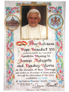 Papal blessing certificate