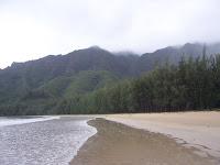 Alone on the beach at Kahana Bay