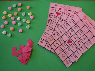 Bingo with Conversation Hearts