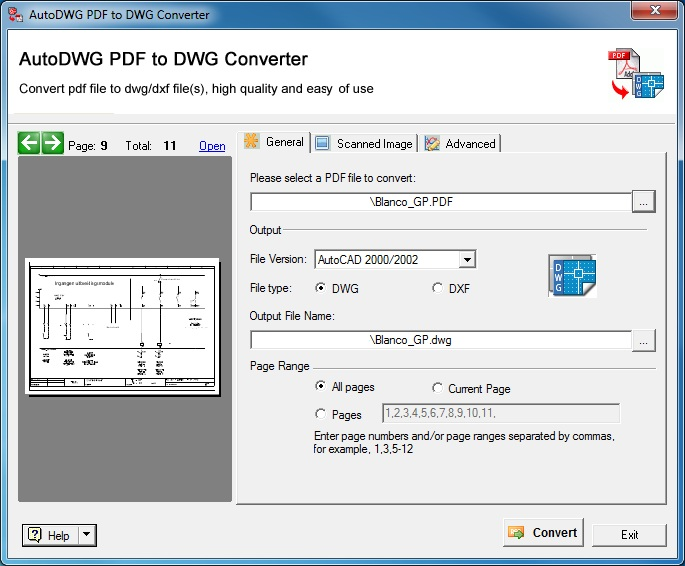 Convert PDF to AutoCAD DWG either in an application or a free online service. The drawing will contain texts, lines, polylines, splines and images.