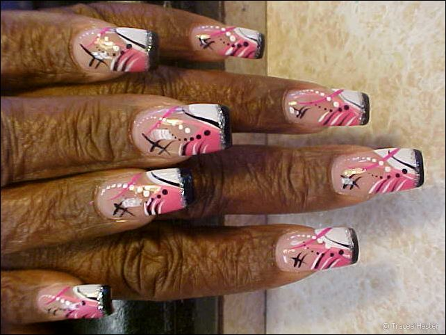 Topnails: Pink, Black, And White Manicure For Elderly