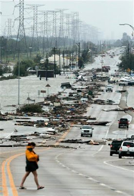 Post-Ike debris across Highway 146 on bridge Kemah to Seabrook, TX, 13 September 2008 -- AP Photo by Frank Franklin II