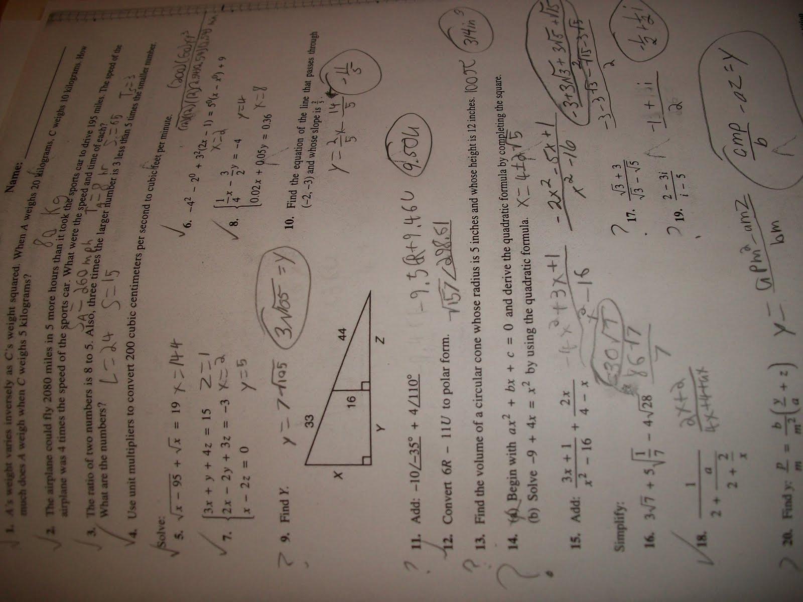 Saxon Math Algebra 1 Test Answers
