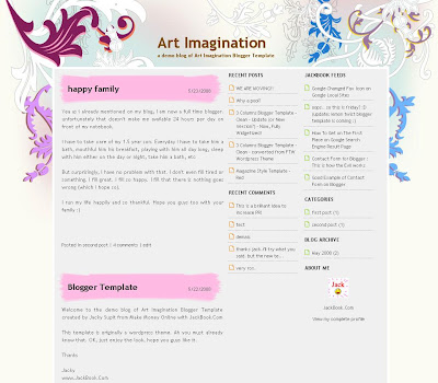 Theme Art Imagination Blogger Templates