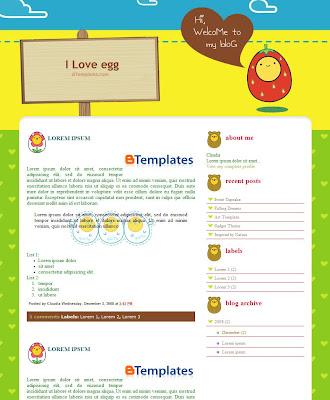 I Love Egg Blogger Template