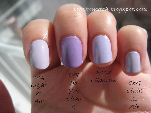 Stash Swatch Some Lilac Polish Comparisons Opi Done Out In Deco China Glaze Light As Air Opi