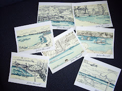 Hand watercolored beach sketches