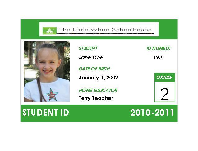 School identification card design for Homeschool id card template