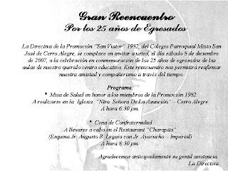 Promoción 1982 San Viator Tarjeta De Invitación