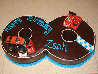 Number 8 Shaped Birthday Cake With Monster Trucks