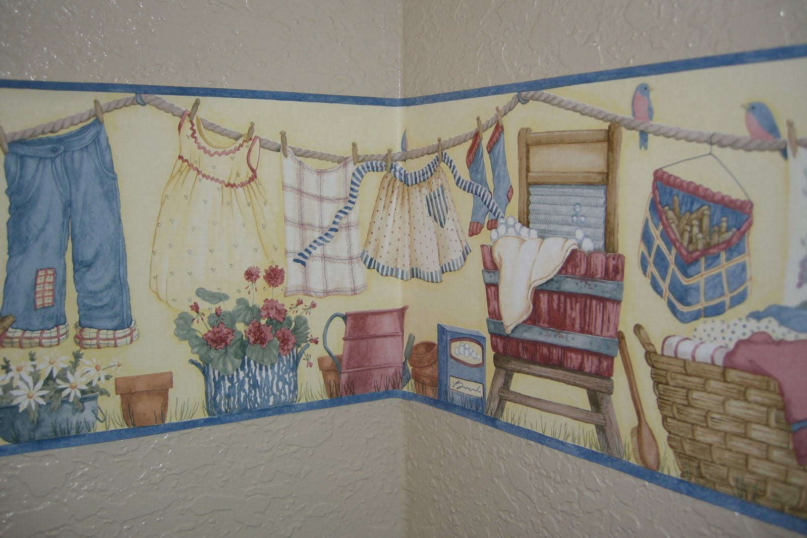 laundry room vintage wallpaper border - photo #21