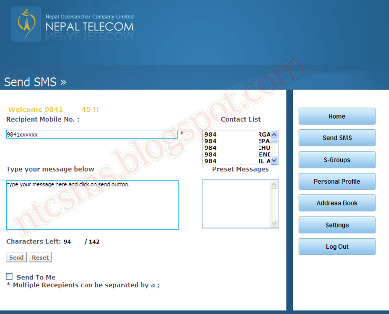 Free web SMS for NTC Mobile & Ncell Mobile subscribers
