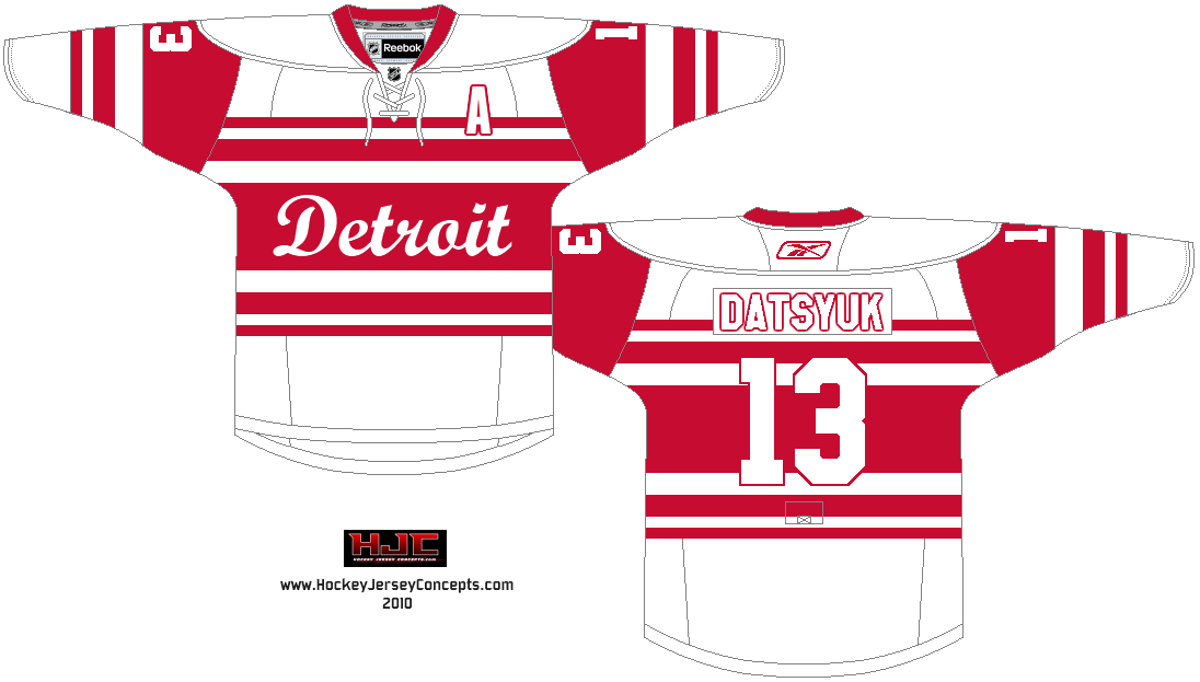 cd86c2b49ee Detroit Red Wings concept The striping is from the 1929-30 Detroit Cougars  jersey.