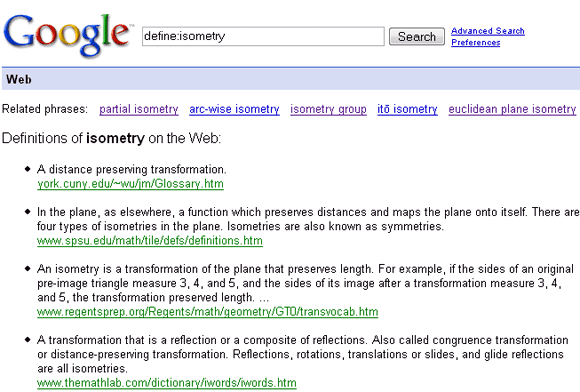 googles glossary search engine