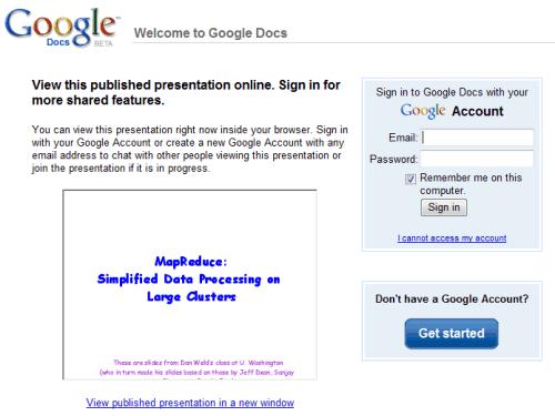 Google Presentation screenshot