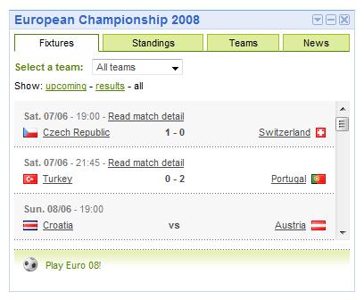 Gadget de Google, Eurocopa 2008