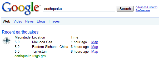 Earthquake OneBox In Google Search