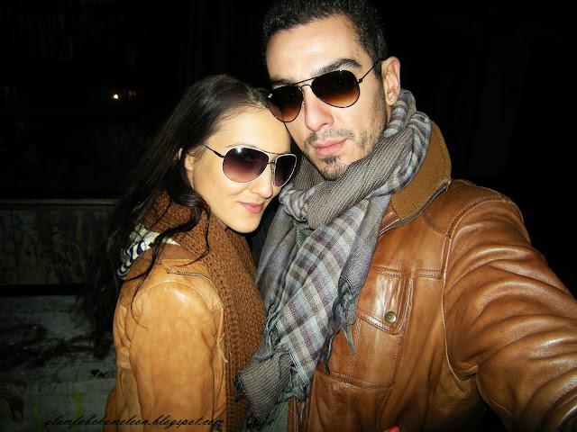 couple street style rayban aviator sunglasses