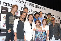 Takeuchi Junko and Hirano Aya, with Exile and director Abe