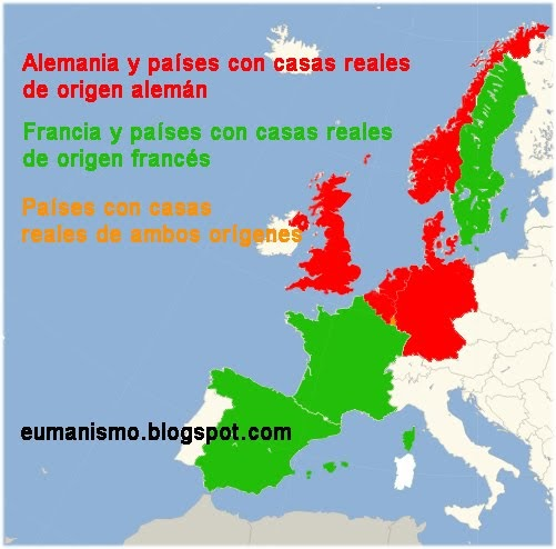 Eumanismo Mapa de las monarquas europeas segn su origen alemn o francs