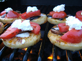 Form little patties of polenta or buy that tube stuff. There is some ...