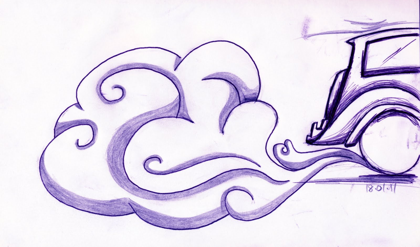 It is a picture of Peaceful Smoke Cloud Drawing