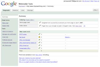 Google Webmaster Tools Homepage