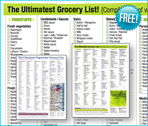 Grocery List Organizer Template – Free Printable Grocery List Template