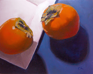 Connie Kleinjans, original oil painting, Two Persimmons, 8x10