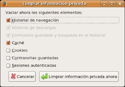 Limpiar información privada