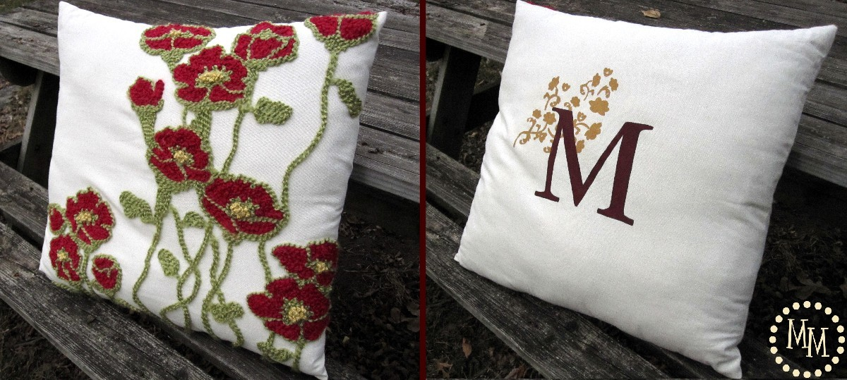 Poppy Pillow/Monogrammed Beauty