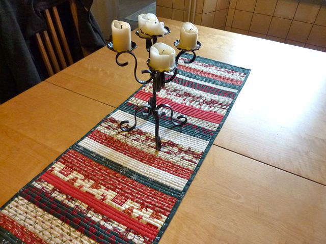 Ago I Started On A Christmas Project As Found Some Fabric With Prints At My Local Thrift Decided To Make Stripy Table Runner