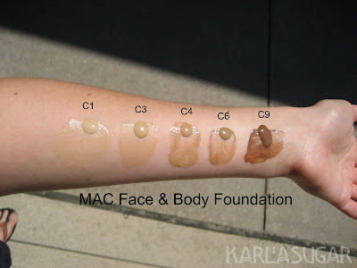 MAC, Face and Body, foundation, swatches, C1, C3, C4, C6, C9