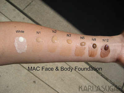 MAC, Face and Body, foundation, swatches, white, N1, N2, N3, N5, N9, N12