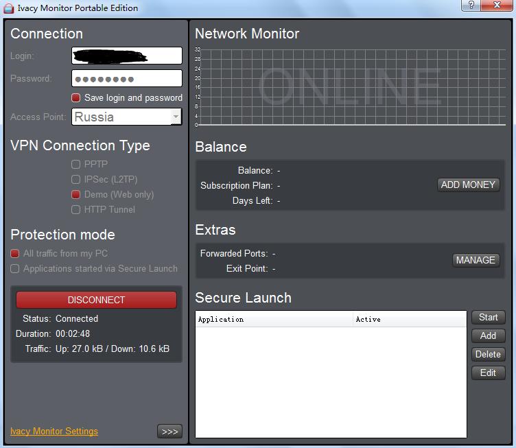 翻墻與潛水: 免費VPN客戶端-Ivacy Monitor