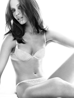 Zoe Saldana, white bra and panties
