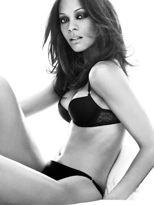 Zoe Saldana, black bra and panties