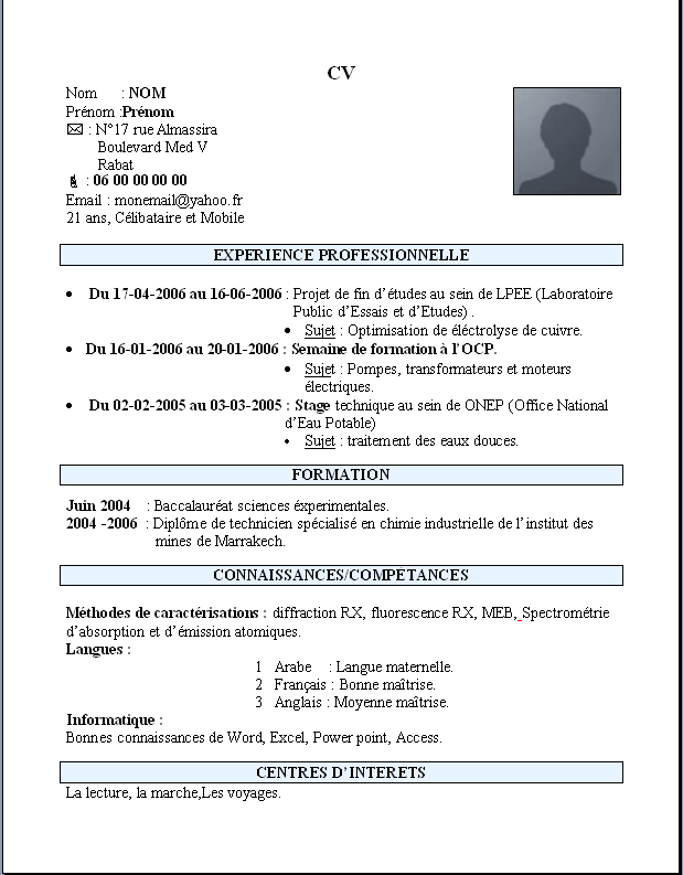 Exemple Dun Cv Marocain Simple