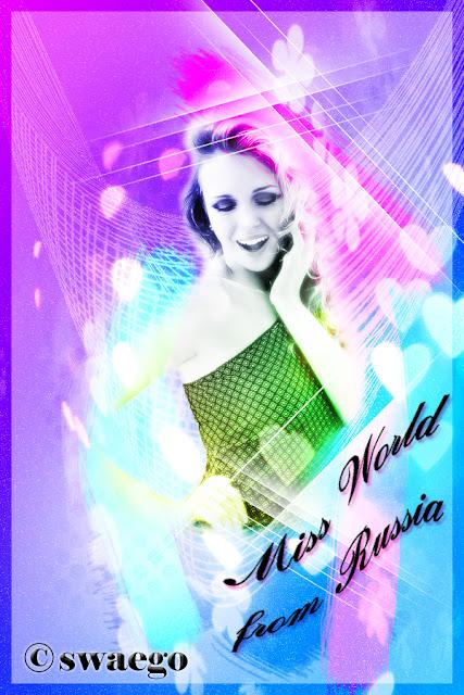 Абстрактная фотоманипуляция с Мисс Мира в Фотошоп.