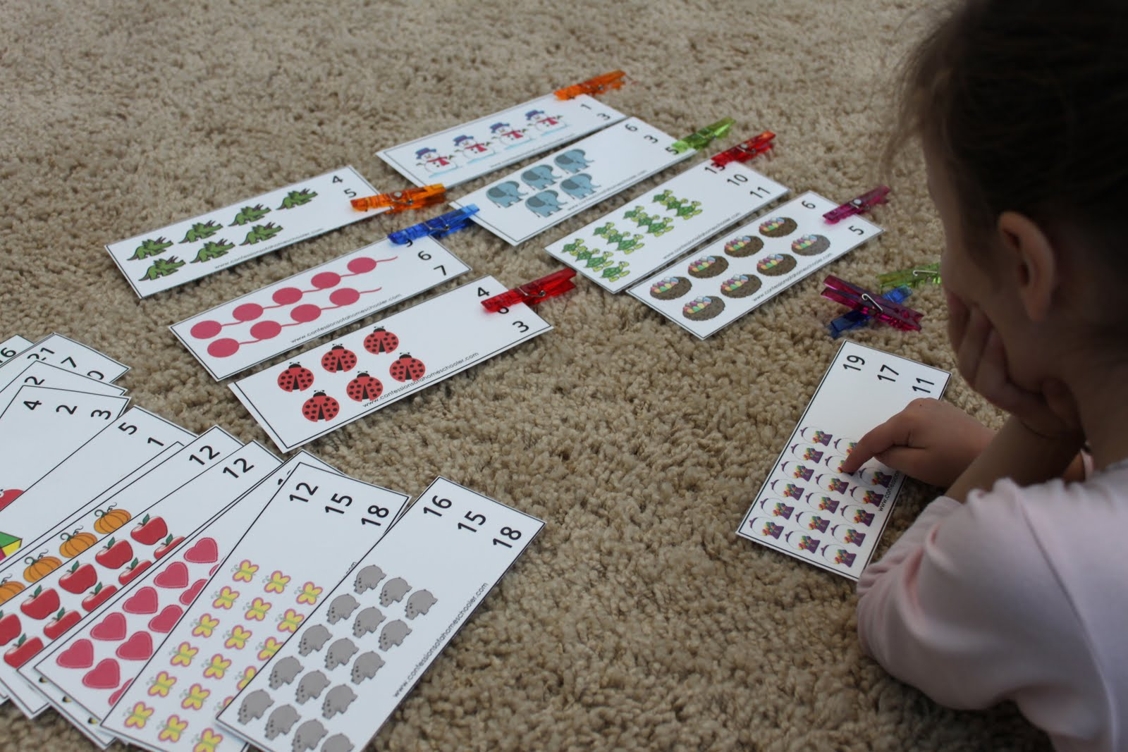 Clothes Pin Number Cards: K4 & Prek - Confessions of a