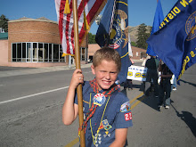 I got to carry the American Flag in our parade cause I was Cub of the Year