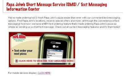 Text Message your Papa John's
